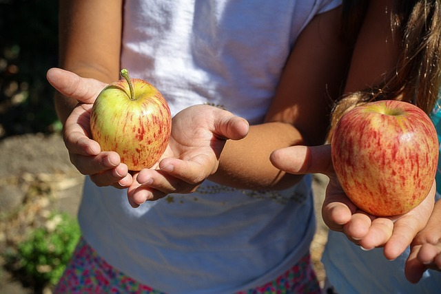 Two girls are holding apples